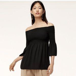 Aritzia Babaton Black Off the Shoulder Blouse
